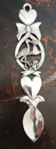 Pewter Stork Carrying a Baby Christening Love Spoon